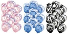 Blue Glitz Latex Balloons Birthday Age Party Decorations 30th