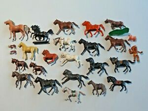 Vintage Lot of 24 Toy Plastic Horses Assorted Makers Lido, Marx, Etc.