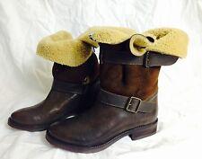 Urban Vintage ~warme robuste Lammfell Stiefel in braun  ~ Neu Gr 37 S120