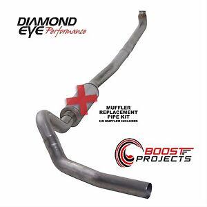 "Diamond Eye 4"" Stainless Steel Down-Pipe Back Exhaust Kit No Muffler K4114S-RP"