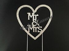 Mr & Mrs Heart Wedding Cake Topper -  Crystal Diamonte Rhinestone