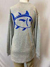 "New Southern Tide Kids ""Classic Fish"" Long SleeveT-Shirt, Gray, M"