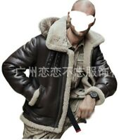 Winter Men's Bomber Faux Leather Jacket Outwear Hooded Fleeces Lined Occident L