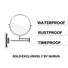 "GURUN 5X Magnifying Makeup Mirror Wall Mounted Hotel Bathroom Chrome 6"" Mirrors"