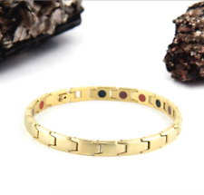 Authentic Pur life Negative Ion Bracelet ELEGANT BRUSHED STAINLESS GOLD PURLIFE