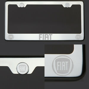 T304 Chrome Polished Fiat Laser Etched Engraved License Plate Frame Screw Cap