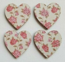 Handmade Set of 4 Wooden Heart Fridge Magnets Beautiful Pink Flowers Print