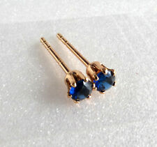 18K Yellow Gold Plated 3mm Dark Blue CZ Cubic Men Kids Unisex Tiny Stud Earrings
