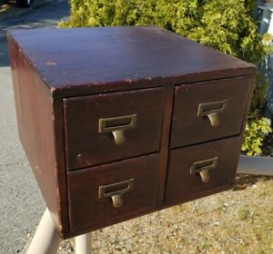 Antique 4 Drawer Card Catalog Library  File Cabinet Dovetail