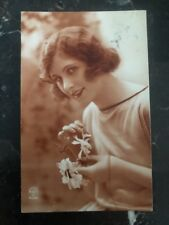 1929 Coimbra Portugal RPPC Postcard Cover Locally Used Women And Flowers