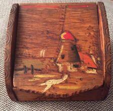Vintage Dutch PokerWork Small Lidded Box 'Windmill and sailing scene' 'Arnhem'