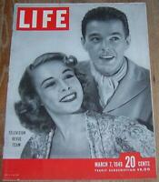 Life Magazine March 7, 1949 Television Revue Team Cover/Fort Dix/Gary Cooper