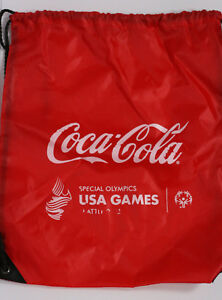 Coca Cola Special Olympics Collectible Seattle Cinch Bag Backpack Red White GUC