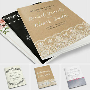 Personalised Wedding Order of Service Cards Covers or Booklets