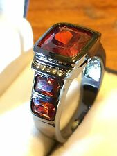 18CT BLACK GOLD FILLED MEN,S  RED GARNET  RING SIZE 11 US