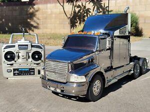 "Rare ""Chrome Metallic Special Edition"" Tamiya R/C 1/14 Semi Ford Aeromax Futaba"