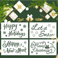 4PC Christmas DIY Craft Hollow Layering Stencils For Wall Painting Decorat Td