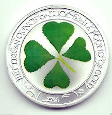 Silver LUCKY Coin Irish Shamrock Green 4 Leaf Clover Medal Rainbows End Palau