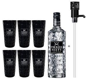 Three Sixty Vodka 3L (37,5% Vol) + Pumpe + 6x Black Longdrink Gläser eckig schw