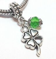 Four Leaf Clover Green Crystal_Bead 4 Charm Bracelet_ Irish St Patrick Luck_Q40