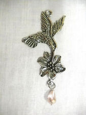 HUMMINGBIRD w FLOWER & PINK DROPLET CRYSTAL SUNCATCHER OR PENDANT NECKLACE
