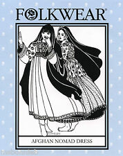 Folkwear Afghan Nomad Dress Above Ankle Length w/Full Skirt Sewing Pattern 107