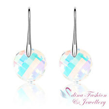 18K White Gold Plated Made With Swarovski Crystal Round Rainbow Dangle Earrings