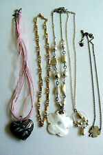 Lot of 5 metal multi style design beadded link chains charm Art glass Necklace