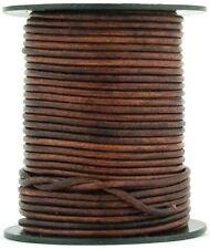 Xsotica ® коричневый состаренная круглый кожаный шнур 2 мм 25 м (27 ярдов)