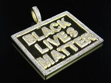 Uomo finitura oro giallo nero VIVE Matter Diamante Autentico Ciondolo pendente