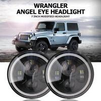 2PCS 7 pouces LED Phare Halo Anneau DRL clignotant Lumière Pour Jeep Wrangler JK