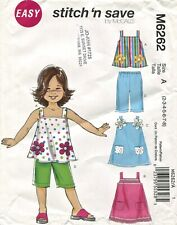 McCall M6262 FF Sewing Pattern Easy A-Line Top Dress Capri Shorts Child 2 - 8