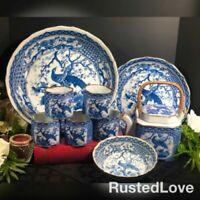 Toyo Oriental Blue and White Pheasant Dishes / Soup Bowl / Tea Set - 10 pieces *