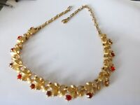 VINTAGE 50'S- UNSIGNED JEWELCRAFT CORO COLLAR NECKLACE RHINESTONES GOLD PLATEDT
