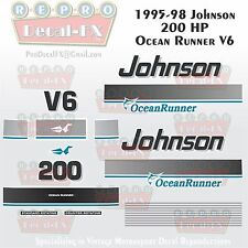 1995-98 Johnson 200HP OR Decals V6 Ocean Runner Reproduction 19 Pieces Vinyl
