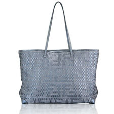 Fendi Platinum Woven Leather Tote Bag Shoulder Bag