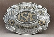 VTG *1997 ISAC CHAMPION* Sterling Silver Overlay Rodeo Cowboy TROPHY BELT BUCKLE