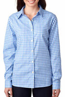 UltraClub Women's Wrinkle Resistant Long Sleeve Button Front Dress Shirt. 8385L