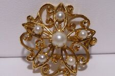 Branch Leaves Estate Handcrafted Vintage 14k Solid Gold Pearl Brooch Pin