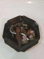 Japanese Otagiri Black Peacock Decorative Plate / Flower Peacock Plate Gold Rim
