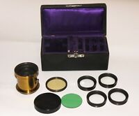 RARE Brass Convertible lens 4 optical blocks and Filters. FULL KIT
