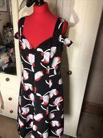 MYLEENE KLASS Ladies Black Red Floral Strappy Sleeveless Retro Dress Size 16