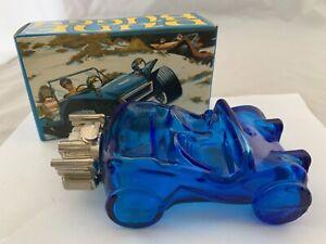 Vintage Avon Dune Buggy Car Bottle Blue Glass Decanter Empty in box