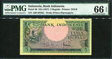 Indonesia 1957, 5 Rupiah, P49, PMG 66 EPQ GEM UNC