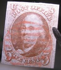 USA 1847 5c Franklin #1 VF-XF with light RED Grid cancel cat. $600