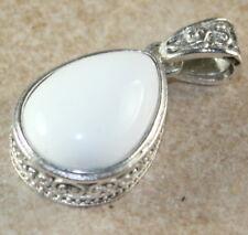 SILVER Vintage Style White Agate Teardrop Pendant Jewelry Woman Gift