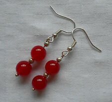 Unique handmade red ruby silver plated earrings with free stoppers