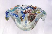 Mid Century Murano Glass Bowl - Millefiori w/ Silver Flakes- Original Foil Label