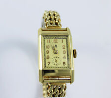 Vintage Armbanduhr Uhrenfabrik Glashütte in 14 Kt/585 Gelbgold!