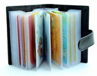 Genuine Soft Black Leather Credit Card Holder Wallet - 20 clear plastic pockets